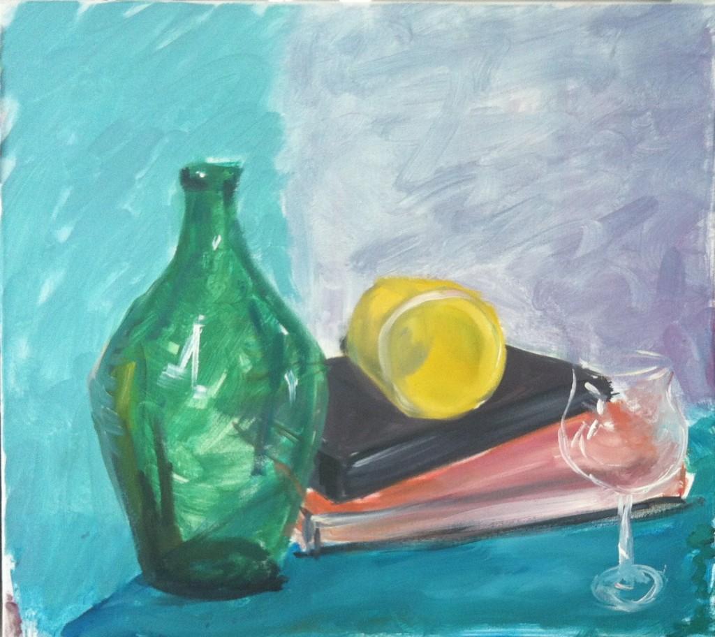 2. Sticla, pahar si carti